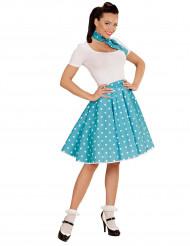 Turkos kjol och scarf med prickar 60-tal dam