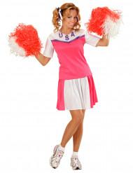Kostym som rosa och vit cheerleader dam
