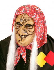 Gammal häxa med vitt hår - Halloweenmask