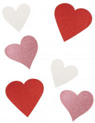 6 hjärtdekorationer med paljetter
