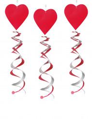 3 spiraler med röda hjärtan