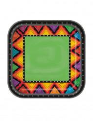 10 små kartongtallrikar med aztekisk inspiration
