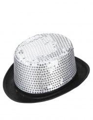 Silverfärgad cylinderhatt för vuxna med paljetter