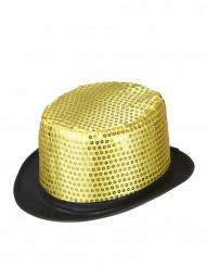 Guldhatt med paljetter och svart brätte