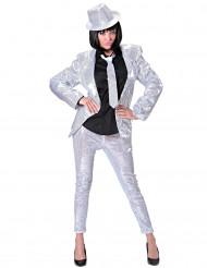 Silverfärgade glittriga leggings för vuxna