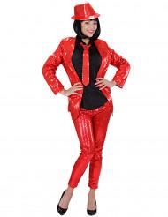 Röda leggings med små paljetter för vuxna