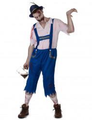 Kostym som blå bayerskinspirerad zombie för vuxna