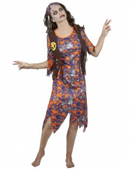 Kostym för zombihippie dam