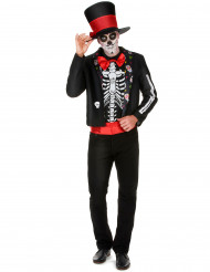 Skelettkostym med motiv från Dia de los muertos herrar