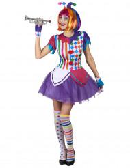 Kostym som färgstark Harlekin med pomponger dam