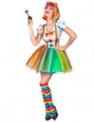 Kostym som målarclown i flera färger dam