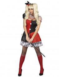 Röd och svart kostym för Harlekin dam