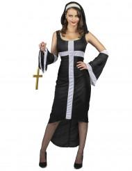 Kostym som sexig nunna med vitt kors dam