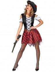 Röd- och svartrandig piratdräkt dam
