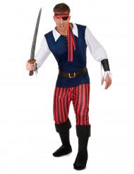 Randig piratdräkt för vuxna