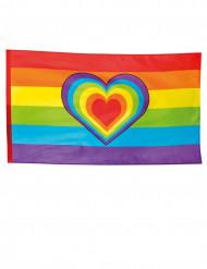 Regnbågsflagga med hjärta 90x150 cm
