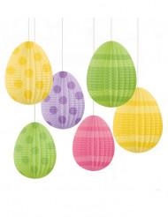 6 dekorations påskägg som hänger
