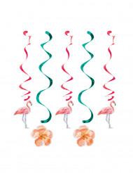 5 Hängade flamingo och blomm dekorationer