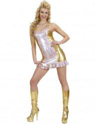 Holografisk flerfärgad och guldfärgadkostym dam