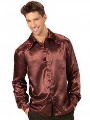 Brun satinliknande skjorta - Maskeraddräkt för vuxna