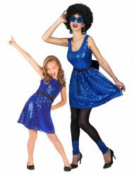 Blå Gnistrande Discopar - Pardräkt vuxna och barn