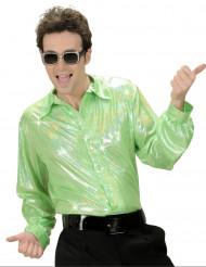 Holografisk grön discoskjorta - Maskeraddräkt för vuxna