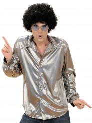 Holografisk discoskjorta i silverfärg herrar