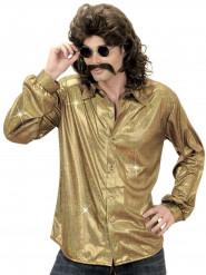 Guldfärgad holografisk discoskjorta herrar