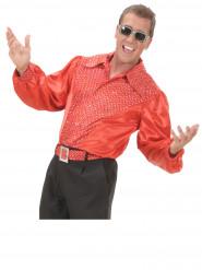 Röd satinerad discoskjorta herrar