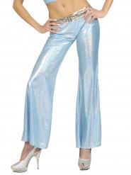 Snärtiga blåa holografiska discobyxor för vuxna
