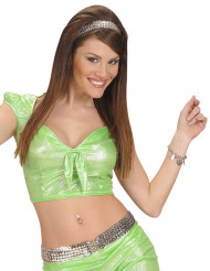 Sexigt grönt holografiskt linne med rosett för vuxna
