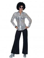 Silverfärgad discoskjorta med paljetter - Maskeraddräkt för vuxna