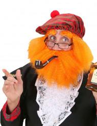 Skotskrutig basker med rött skägg för vuxna