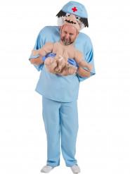 Skojkostym som bäbis som bärs av sin doktor vuxna