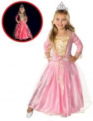 Rosa lysande prinsessdräkt för barn till maskeraden