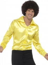 Neongul discoskjorta i ett satinliknande material för vuxna
