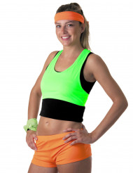Neongrön crop top - 80-tal