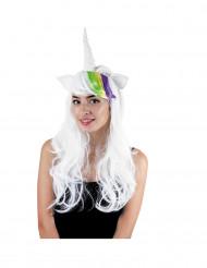 Enhörningsperuk med horn och öron för vuxna