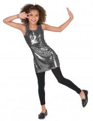 Glittrande silverfärgad discoklänning för barn