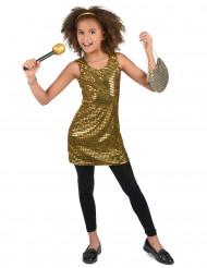 Gyllene discoklänning för barn till kalaset