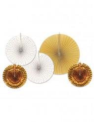 5 Runda dekorationer i vitt och guld