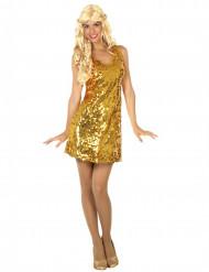 Gyllene discoklänning för vuxna