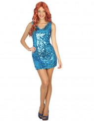 Sexig blå discoklänning för vuxna