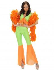 Orange och neongrön discodräkt för vuxna