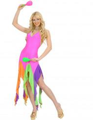Kostym som brasilieninspirerad dansös i neonrosa
