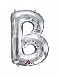 Silverfärgad ballong som liknar bokstaven B