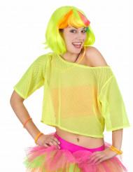Gul 80-tals aerobics-topp för vuxna till maskeraden