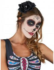 Didem med svart ros i Dia de los Muertos-stil