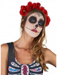 Diadem med rosor och kranium i Dia de los Muertos-stil