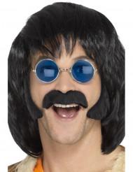Svart hippie-kit med mustasch och polisonger